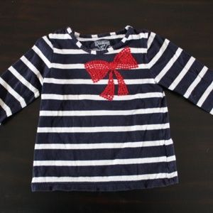 Blue & White Striped Sailor Style Long Sleeve Tee